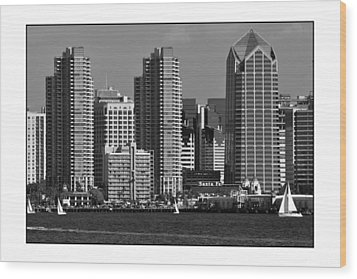 Wood Print featuring the digital art San Diego Skyline by Kirt Tisdale
