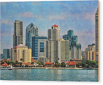 Wood Print featuring the photograph San Diego Skyline by Peggy Hughes