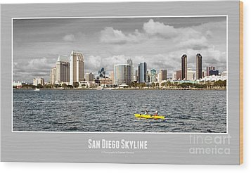 San Diego Skyline - Poster Style Wood Print