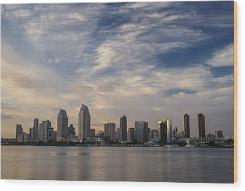 Wood Print featuring the photograph San Diego Skyline Sunset 1 by Lee Kirchhevel