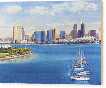 San Diego Skyline With Meridien Wood Print