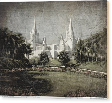 San Diego Temple Antique Wood Print