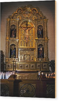 Wood Print featuring the photograph San Fernando Cathedral Altar by Andy Crawford
