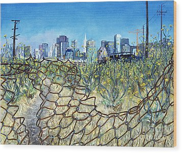 Wood Print featuring the painting San Francisco And Flowery Vagabond Path Of Yesterday by Asha Carolyn Young