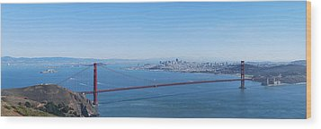 San Francisco And The Golden Gate Bridge Wood Print by Twenty Two North Photography