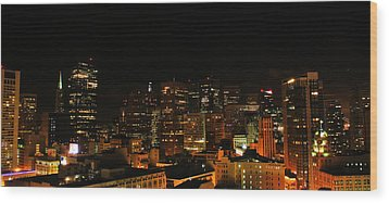 San Francisco By Night Wood Print by Cedric Darrigrand