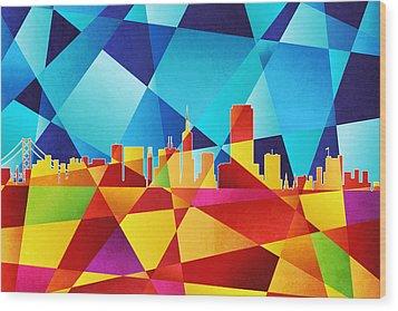 San Francisco California Skyline Wood Print by Michael Tompsett