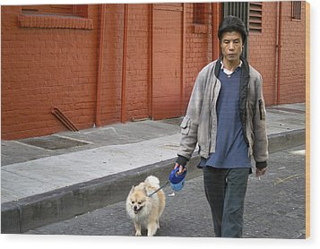San Francisco Chinatown Dog Walker Wood Print by Christopher Winkler