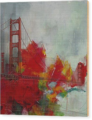 San Francisco City Collage Wood Print by Corporate Art Task Force