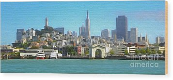 San Francisco - Cityscape - 01 Wood Print by Gregory Dyer