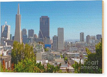 San Francisco - Cityscape - 03 Wood Print by Gregory Dyer