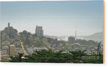 San Francisco - Cityscape - 04 Wood Print by Gregory Dyer