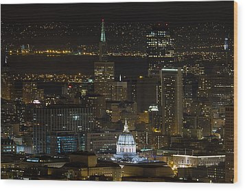 San Francisco Cityscape With City Hall At Night Wood Print by David Gn