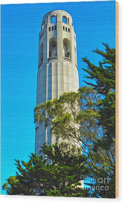 San Francisco - Coit Tower - 01 Wood Print by Gregory Dyer