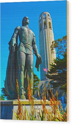 San Francisco - Coit Tower - 02 Wood Print by Gregory Dyer