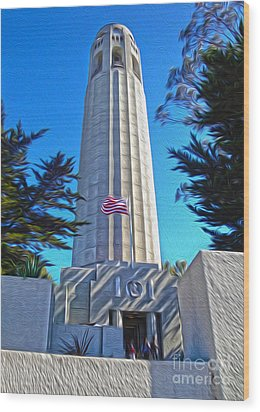 San Francisco - Coit Tower - 03 Wood Print by Gregory Dyer