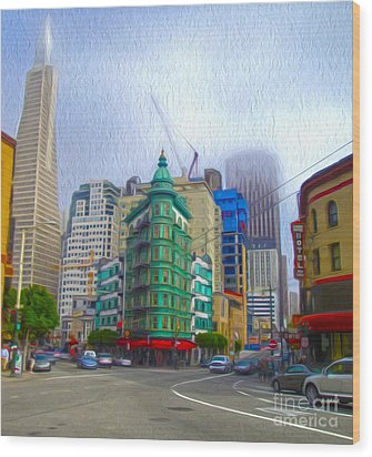 San Francisco - Columbus Street Wood Print by Gregory Dyer