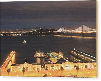 San Francisco Embarccadero And Bay Bridge Lights Wood Print by Ron McMath