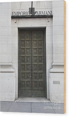 San Francisco Emporio Armani Store Doors - 5d20538 Wood Print by Wingsdomain Art and Photography