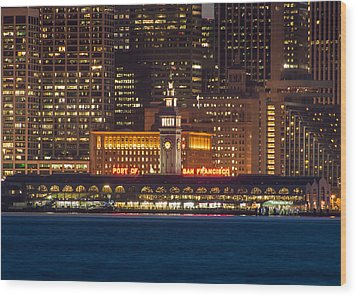 San Francisco Ferry Building At Night.  Wood Print