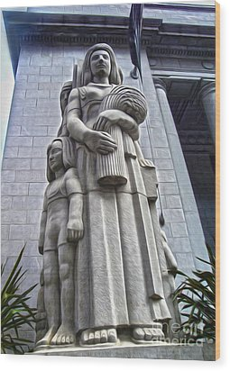 San Francisco - Financial District Statue - 03 Wood Print by Gregory Dyer