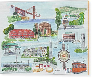 San Francisco Highlights Montage Wood Print