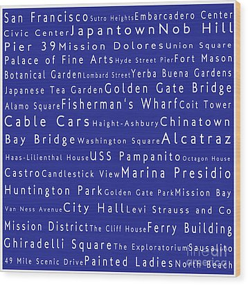 San Francisco In Words Blue Wood Print