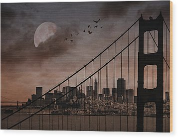 San Francisco Wood Print by Marie  Gale