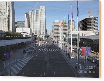 San Francisco Moscone Center And Skyline - 5d20513 Wood Print by Wingsdomain Art and Photography