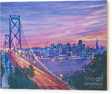 San Francisco Nights Wood Print by David Lloyd Glover