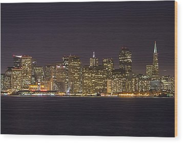 San Francisco Nighttime Skyline 1 Wood Print