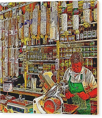 San Francisco North Beach Deli 20130505v2 Square Wood Print by Wingsdomain Art and Photography