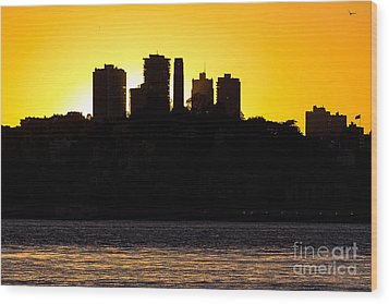 San Francisco Silhouette Wood Print by Kate Brown