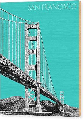 San Francisco Skyline Golden Gate Bridge 2 - Aqua Wood Print by DB Artist
