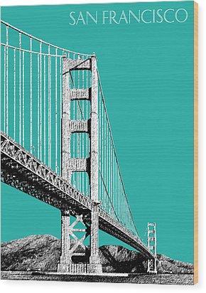 San Francisco Skyline Golden Gate Bridge 2 - Teal Wood Print by DB Artist