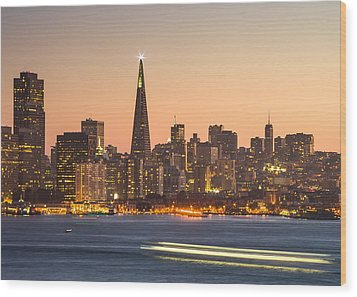 San Francisco Skyline Late Evening Wood Print