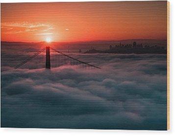 Wood Print featuring the photograph San Francisco Sunrise by Brian Bonham