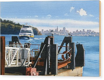 San Francisco Tiburon Ferry Wood Print by Mary Helmreich