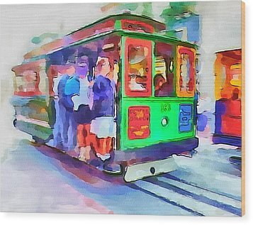 San Francisco Trams 3 Wood Print by Yury Malkov