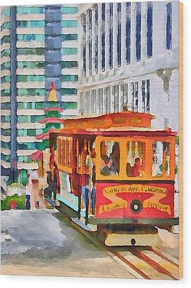San Francisco Trams 6 Wood Print by Yury Malkov