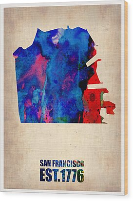 San Francisco Watercolor Map Wood Print by Naxart Studio