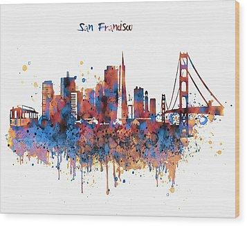 San Francisco Watercolor Skyline Wood Print by Marian Voicu