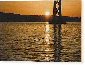 Wood Print featuring the photograph San Francisco Bay Bridge Sunrise by Georgia Mizuleva