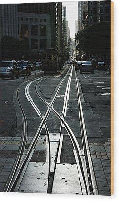 Wood Print featuring the photograph San Francisco Silver Cable Car Tracks by Georgia Mizuleva