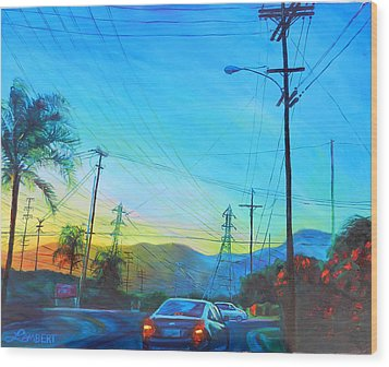 San Gabriel Rush Wood Print by Bonnie Lambert