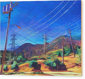 San Gabriel Power Wood Print by Bonnie Lambert