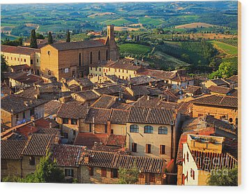 San Gimignano From Above Wood Print by Inge Johnsson