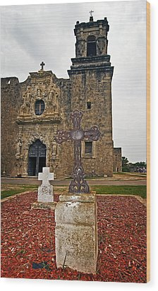 San Jose Mission Crosses Wood Print by Andy Crawford