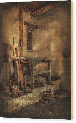 Wood Print featuring the photograph San Jose Mission Mill by Priscilla Burgers