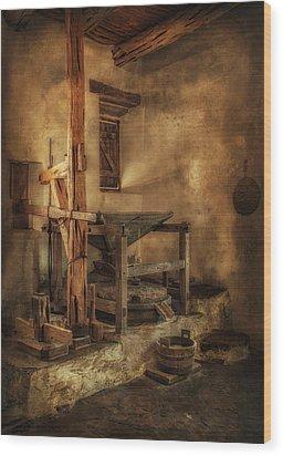 San Jose Mission Mill Wood Print by Priscilla Burgers